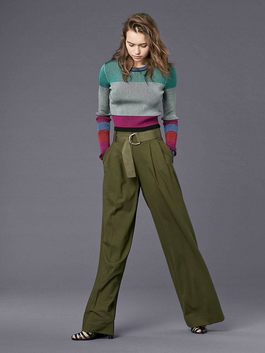 Wide Leg Belted Pant in Olive by DVF