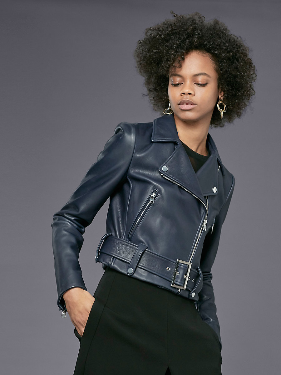 Cropped Moto Leather Jacket in Navy by DVF