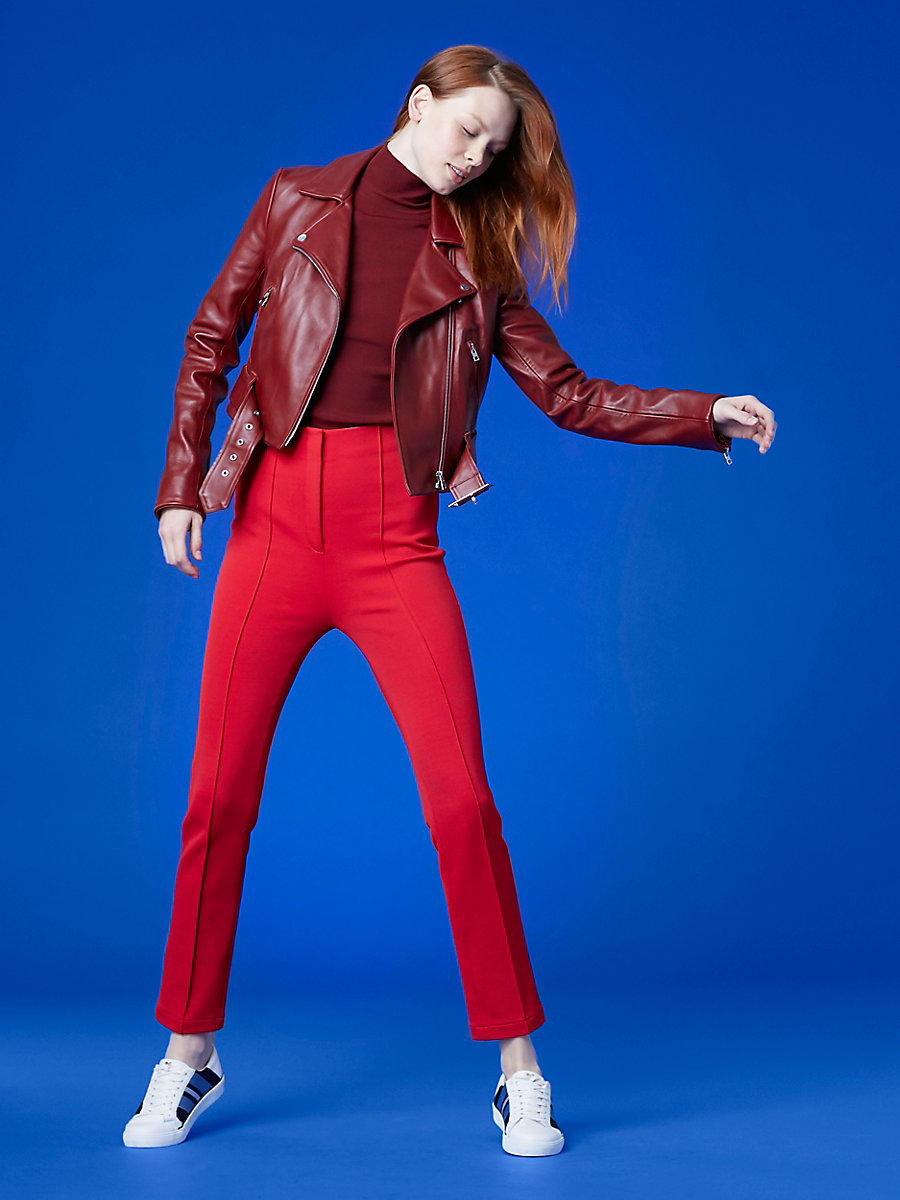 Cropped Moto Leather Jacket in Red Wine by DVF