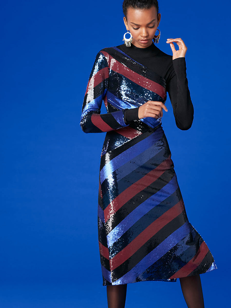 One-Shoulder Bias Sequin Dress in Electric Blue Multi by DVF