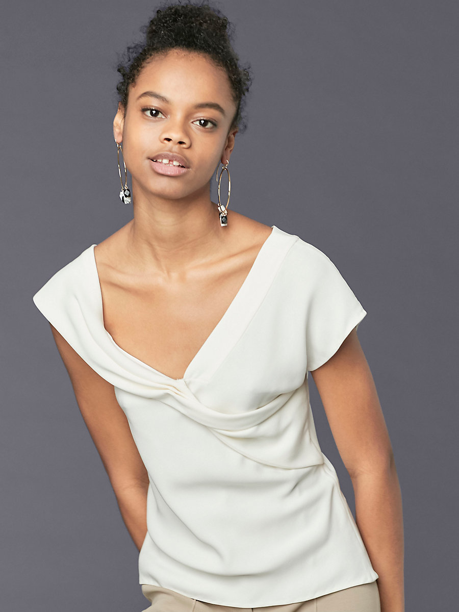Asymmetric Sleeve Knotted Blouse in Ivory by DVF