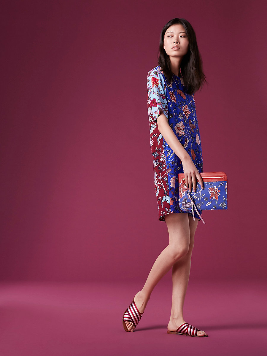 Short-Sleeve Mini Fluid Dress in Canton Electric Blue/ntbk Mult by DVF