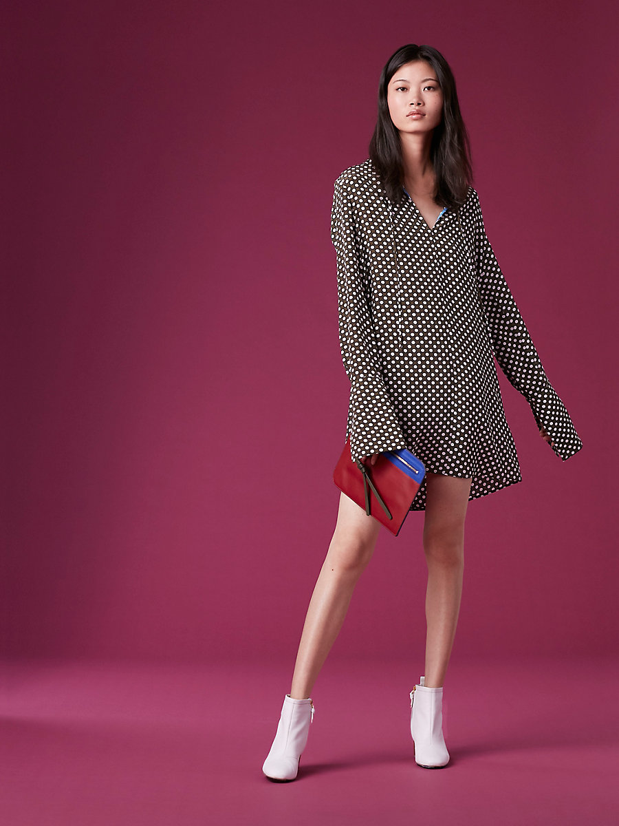 Long-Sleeve Keyhole Dress in Leighton Dot Olive by DVF