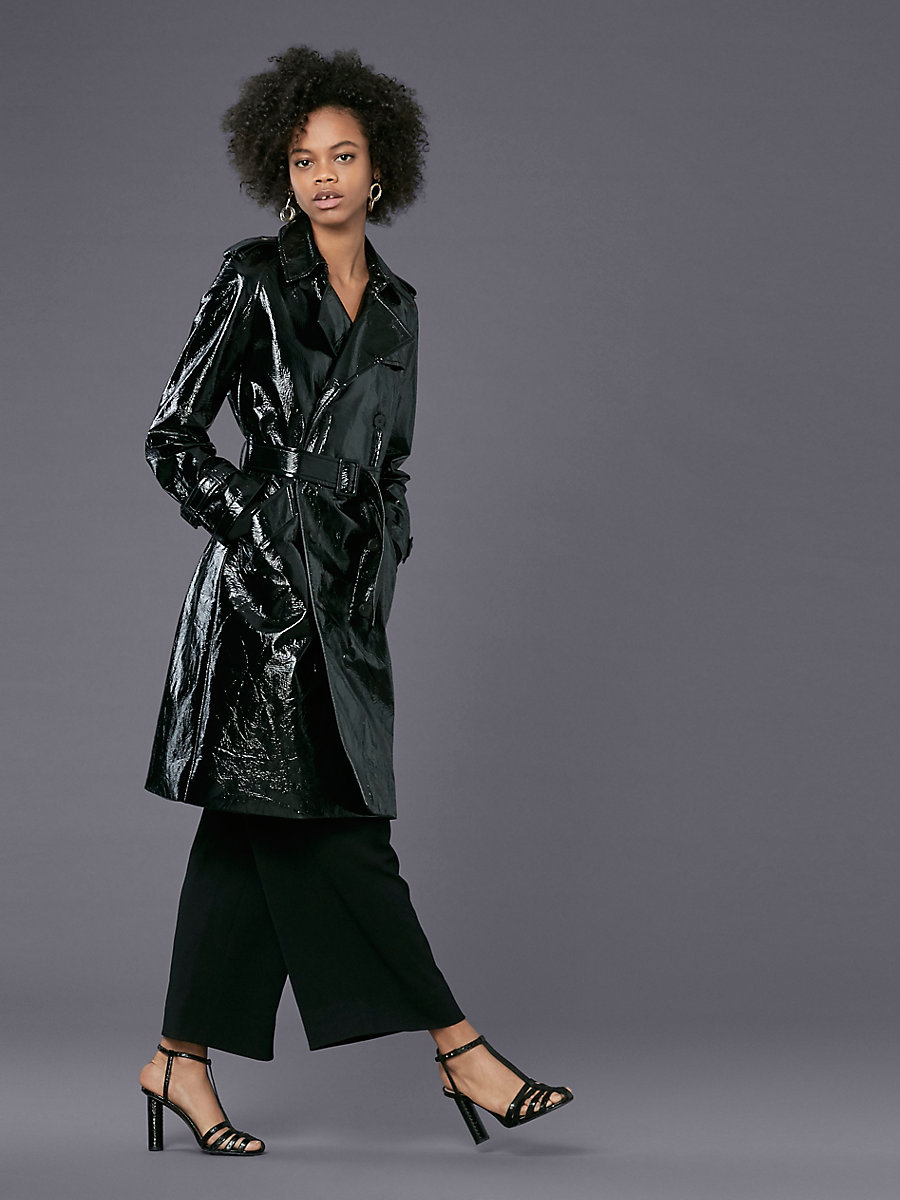 Patent Trench Coat in Black by DVF