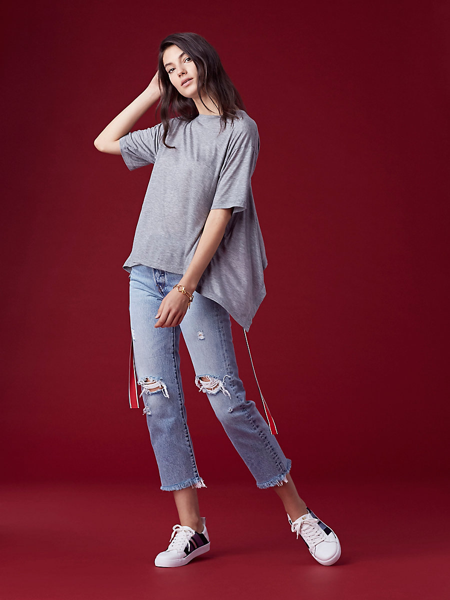 Back Ribbon Tee in Grey Melange by DVF
