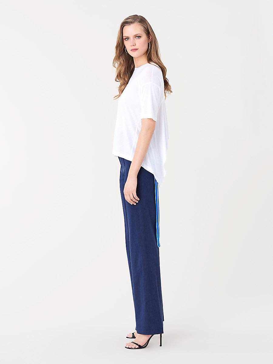 Back Ribbon Tee in White by DVF