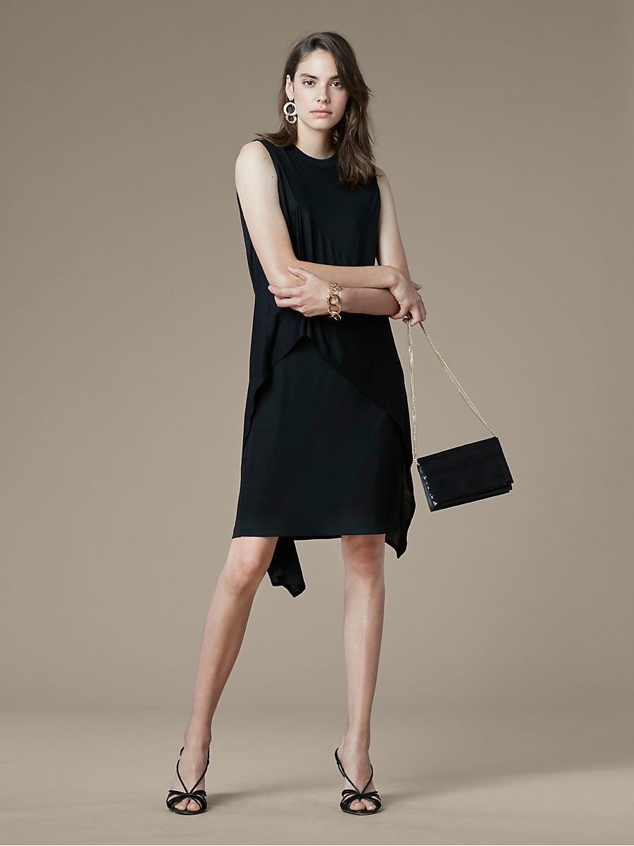 Ruffle Front Mini Dress in Black by DVF