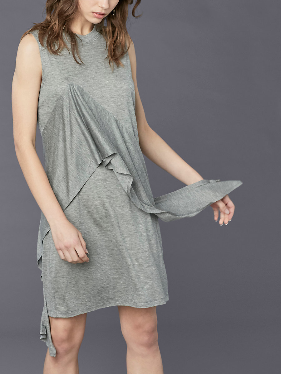 Ruffle Front Mini Dress in Grey Melange by DVF
