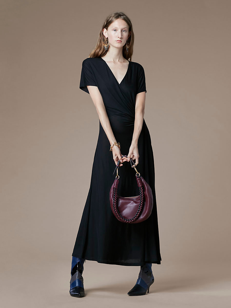 V Neck Ruched Midi Dress in Black by DVF