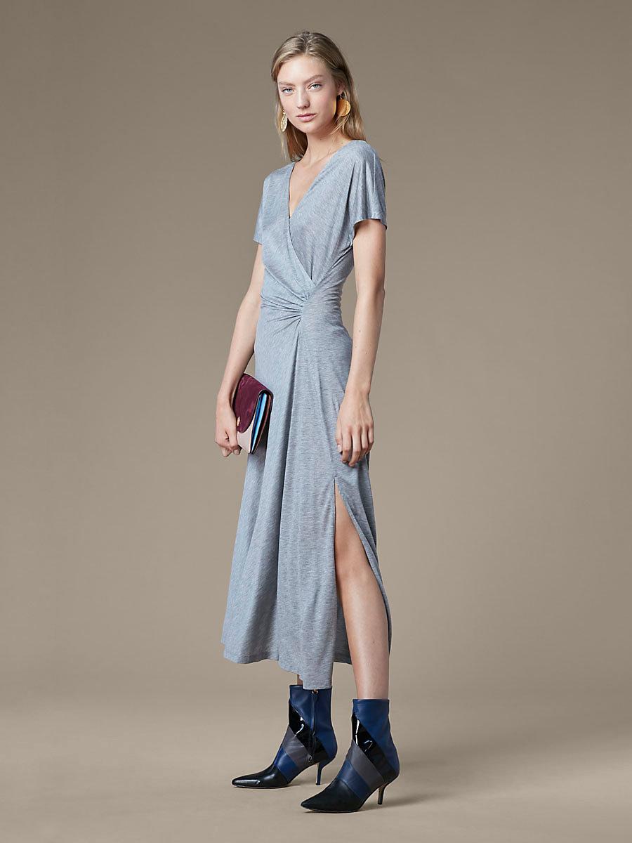 V Neck Ruched Midi Dress in Grey Melange by DVF
