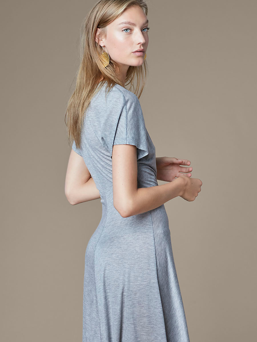 V Neck Ruched Midi Dress in Grey Melange by DVF