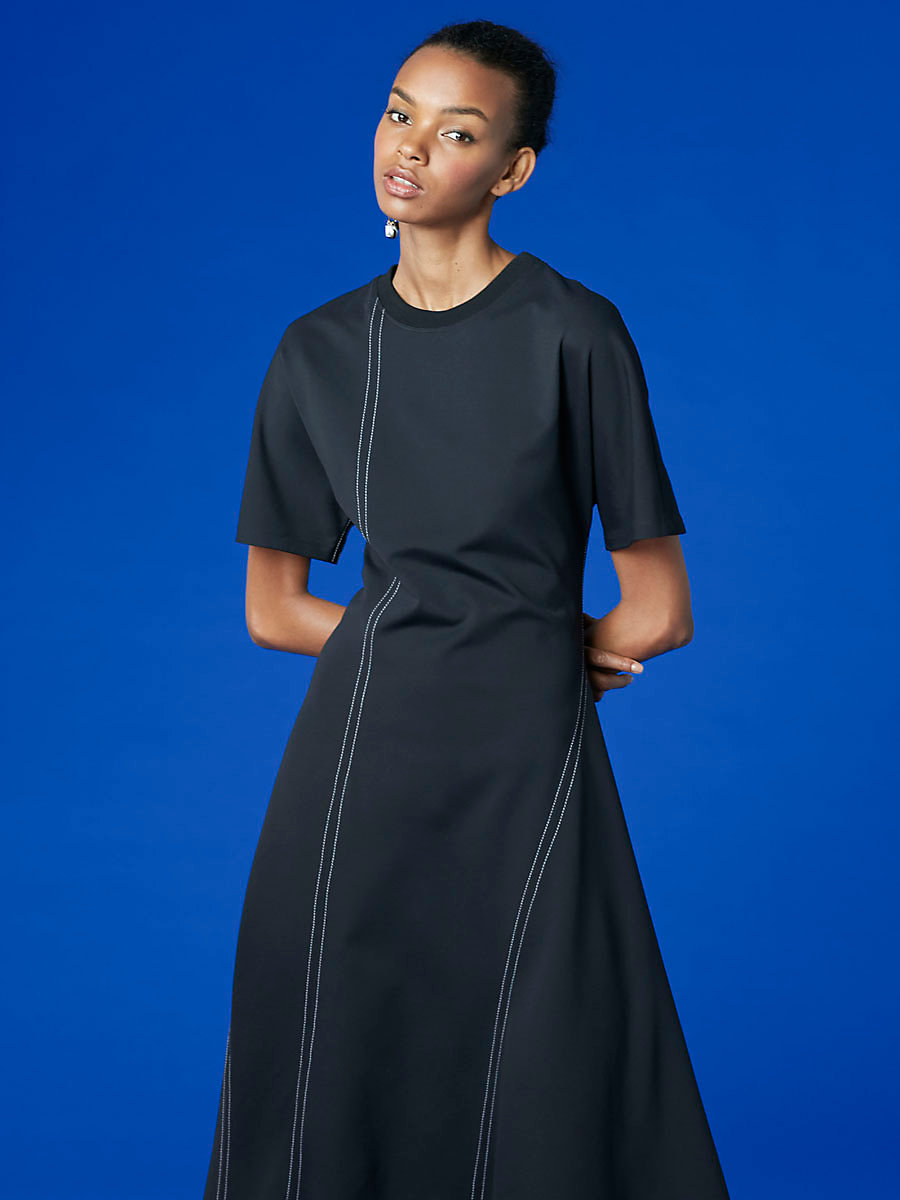 Short-Sleeve T-Shirt Dress in Black by DVF