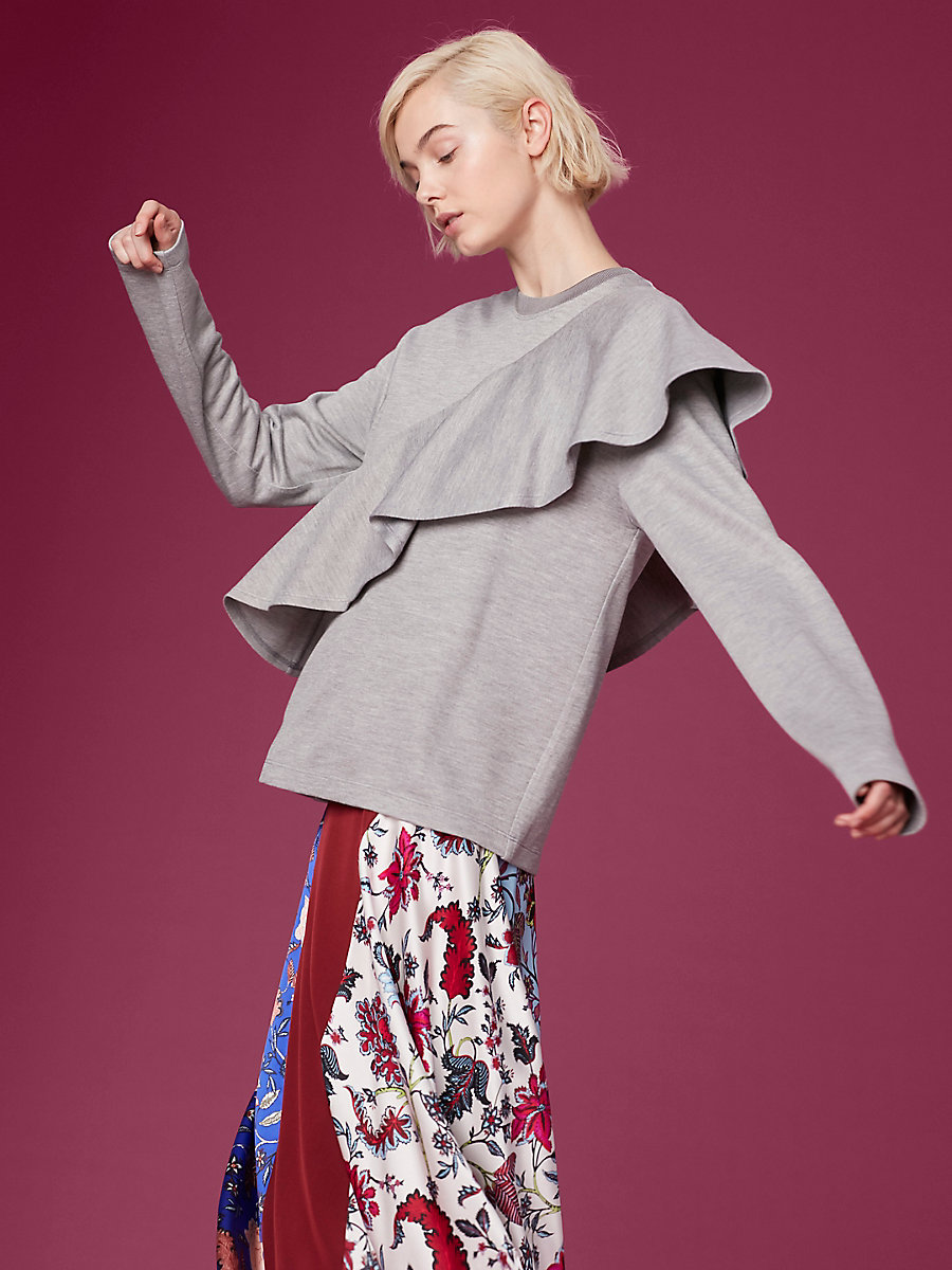 Long-Sleeve Ruffle Front Pull Over in Grey Melange by DVF