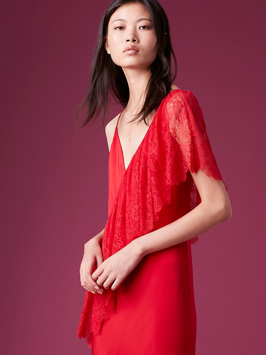 Ruffle Front Lace Dress in Lipstick by DVF