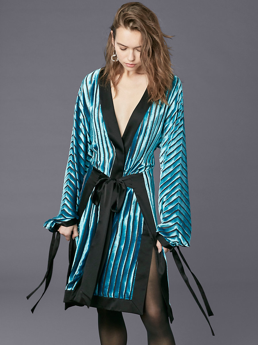 Long-sleeve Kimono Dress in Black/ Marine by DVF