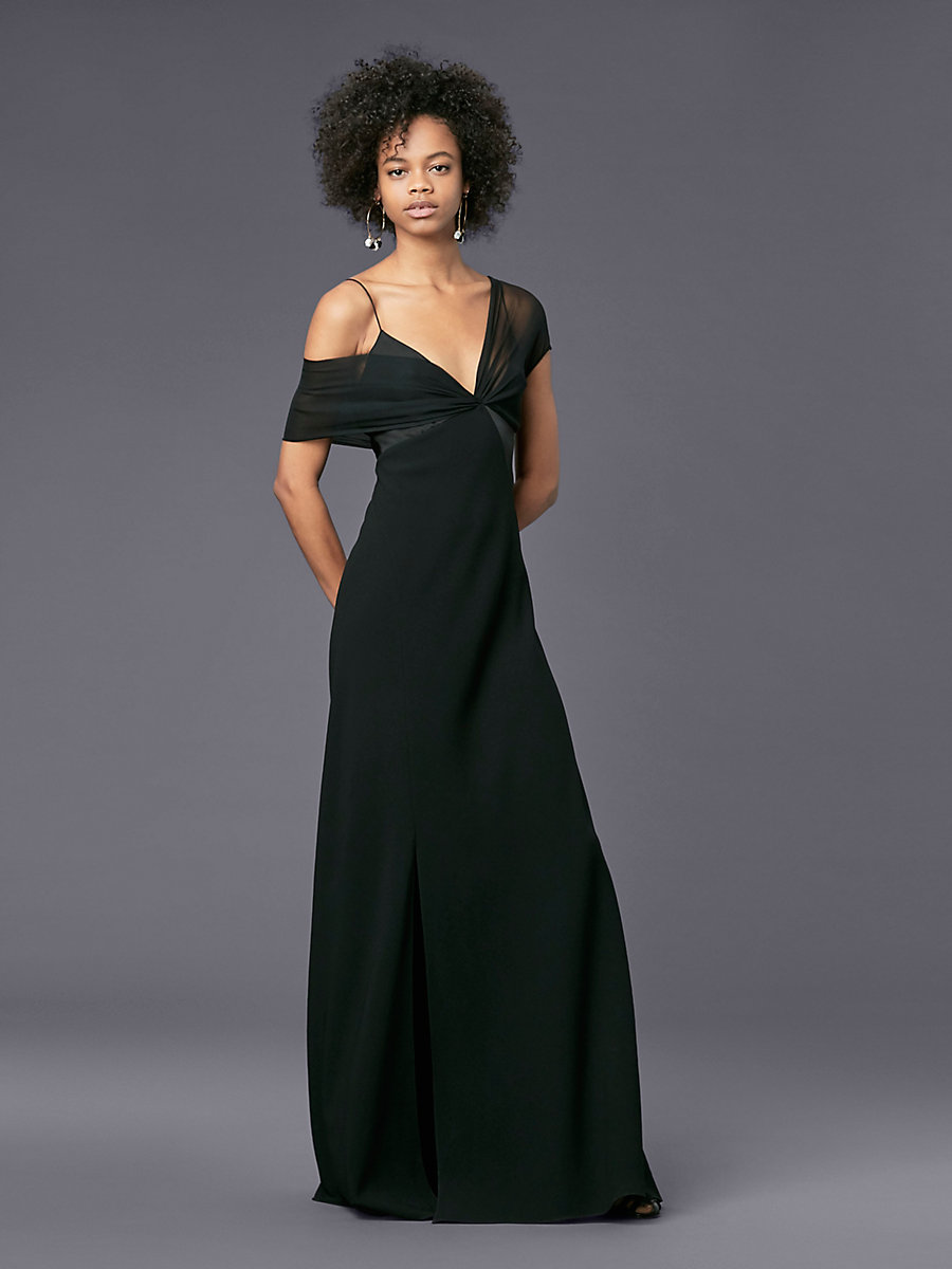 Asymmetric Sleeve Knotted Gown in Black by DVF