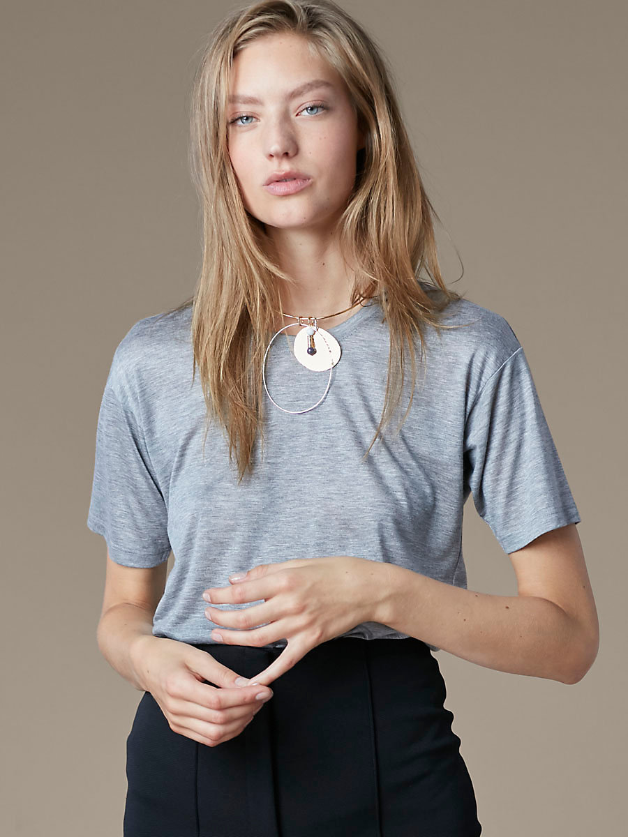 Boyfriend Tee in Grey Melange by DVF