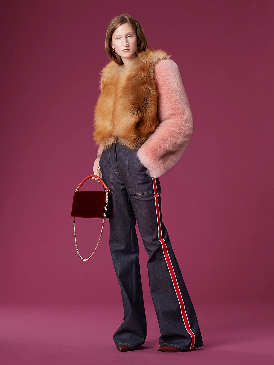 Long-Sleeve Fur Jacket in Peony/ Red Fox/ Kola by DVF