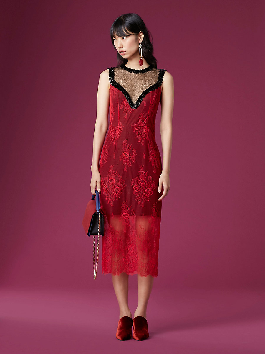 Beaded Overlay Lace Dress in Lipstick/ Black by DVF