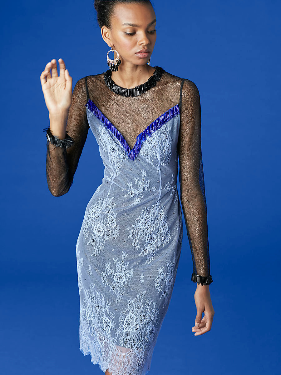 Short Beaded Overlay Lace Dress in Diamond/ Black/ Electric Blue by DVF