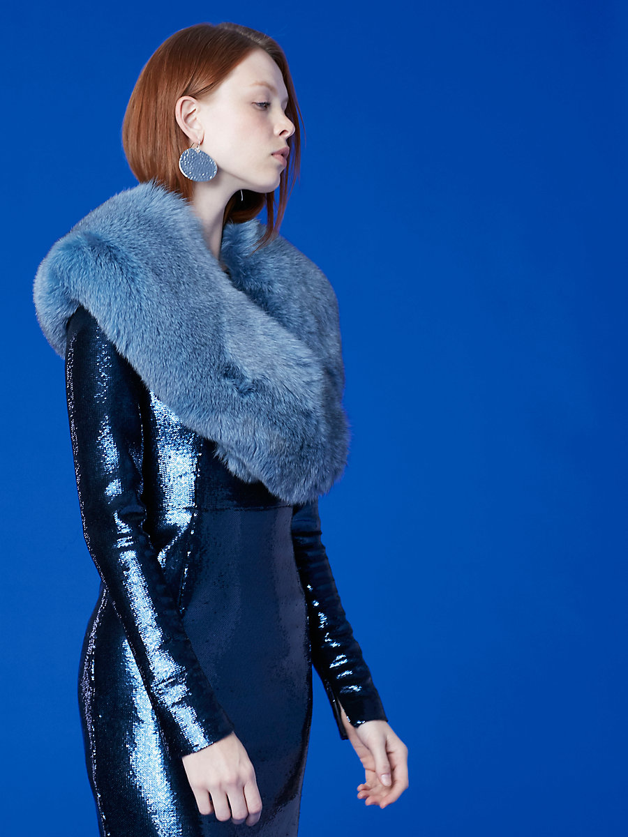 Fox Fur Collar in Denim by DVF