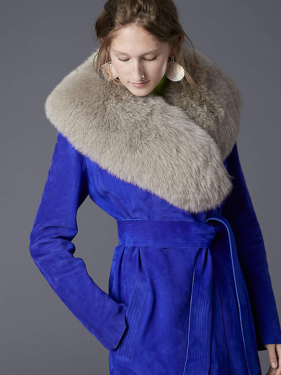 Fox Fur Collar in Light Grey by DVF