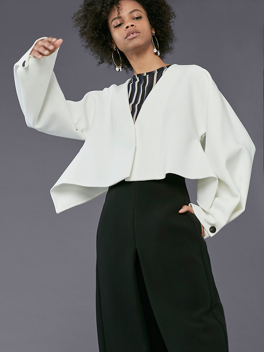 Long-Sleeve Cropped Button-Up Jacket in Ivory by DVF