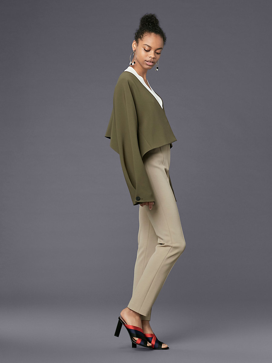 Long-Sleeve Cropped Button-Up Jacket in Olive by DVF