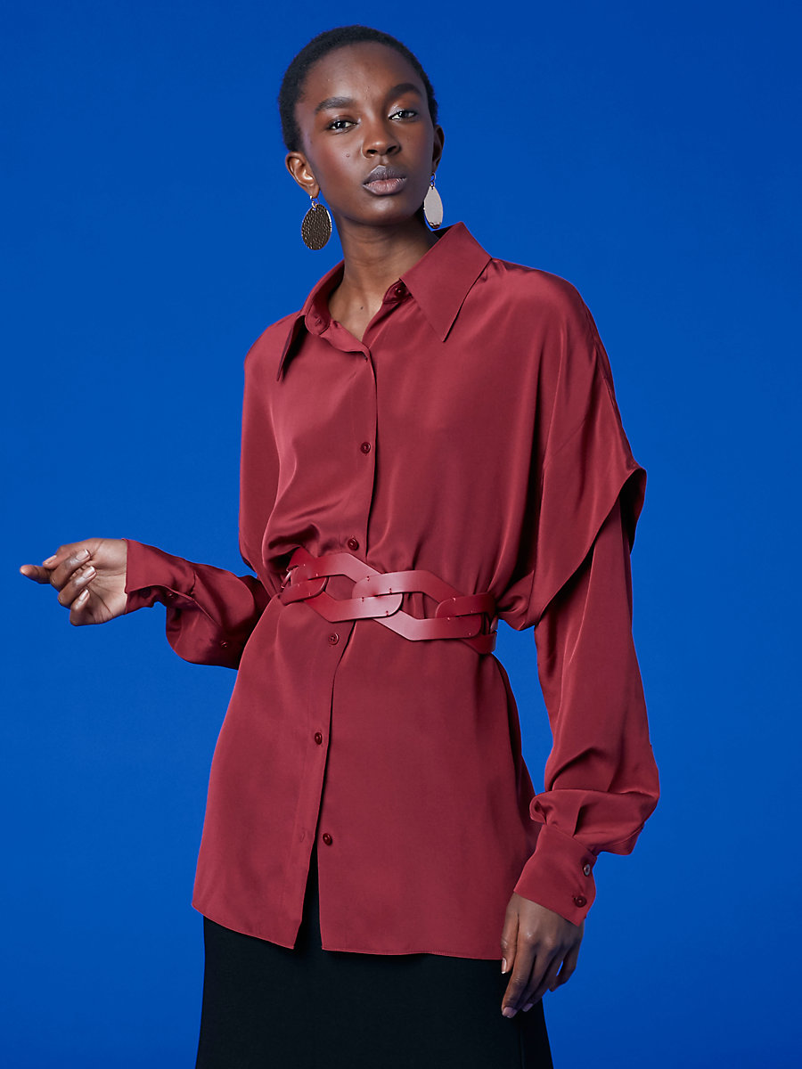 Long-Sleeve Button-Down Shirt in Bordeaux by DVF