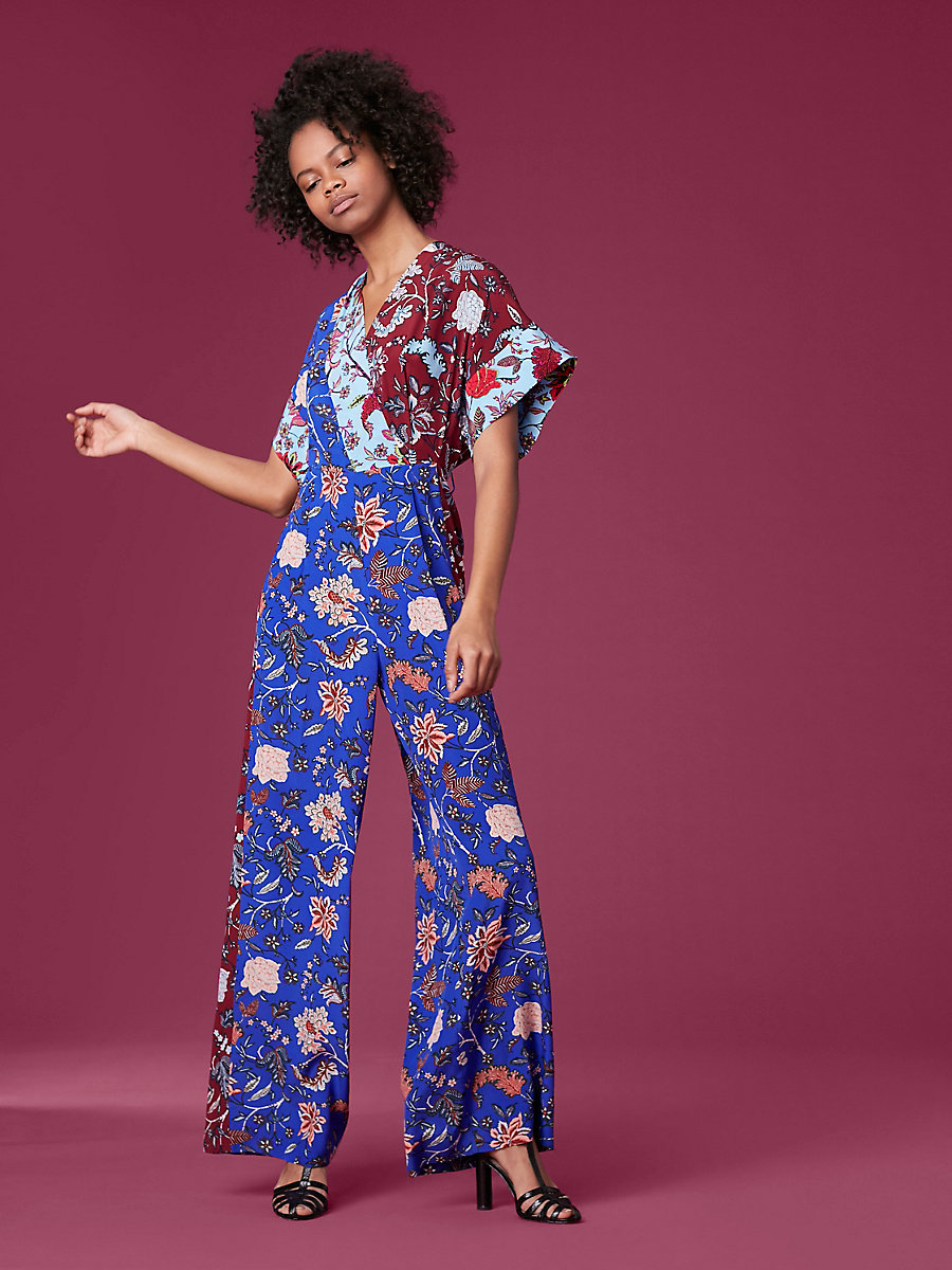Short-Sleeve Long Faux Wrap Jumpsuit in Canton Electric Blue/ Canton Notebook by DVF
