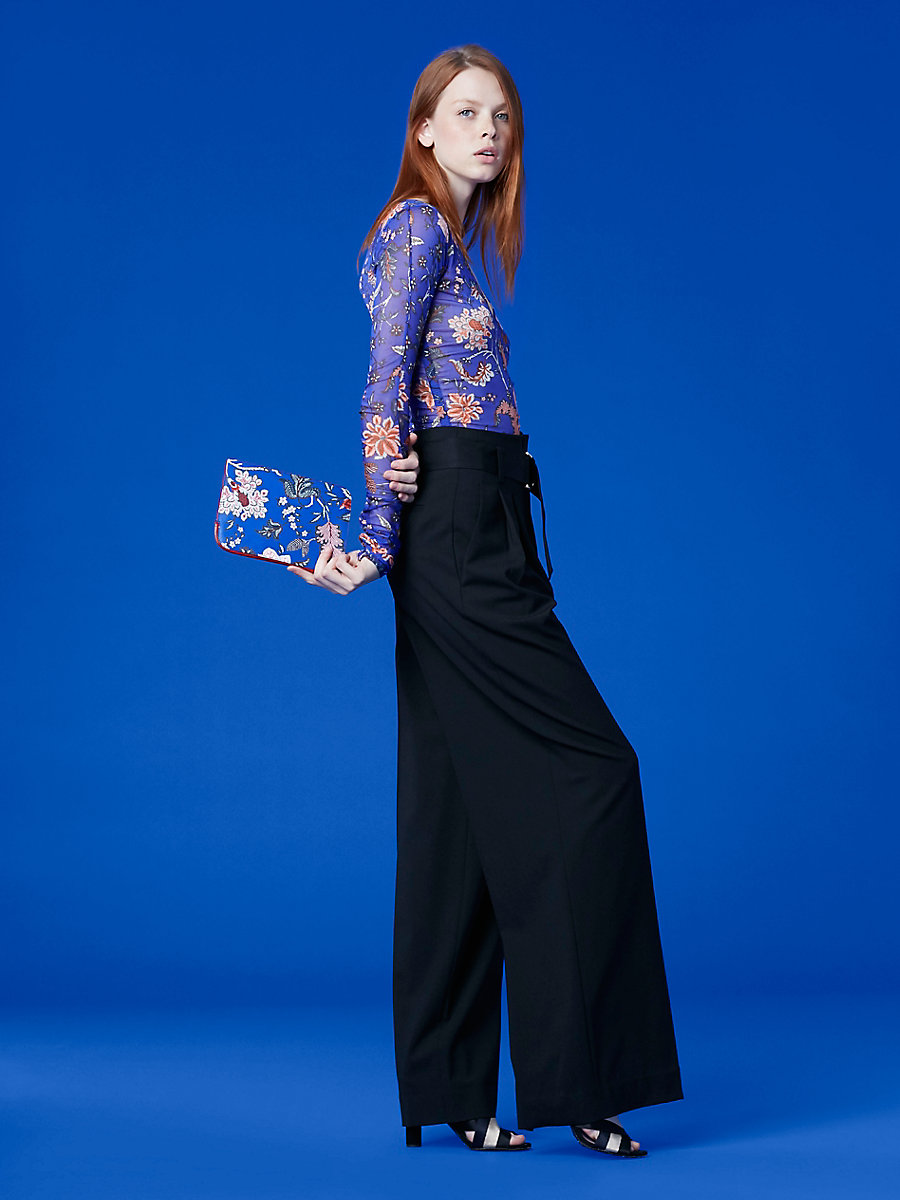 Sheer Mesh V-Neck Fitted Top in Canton Electric Blue by DVF