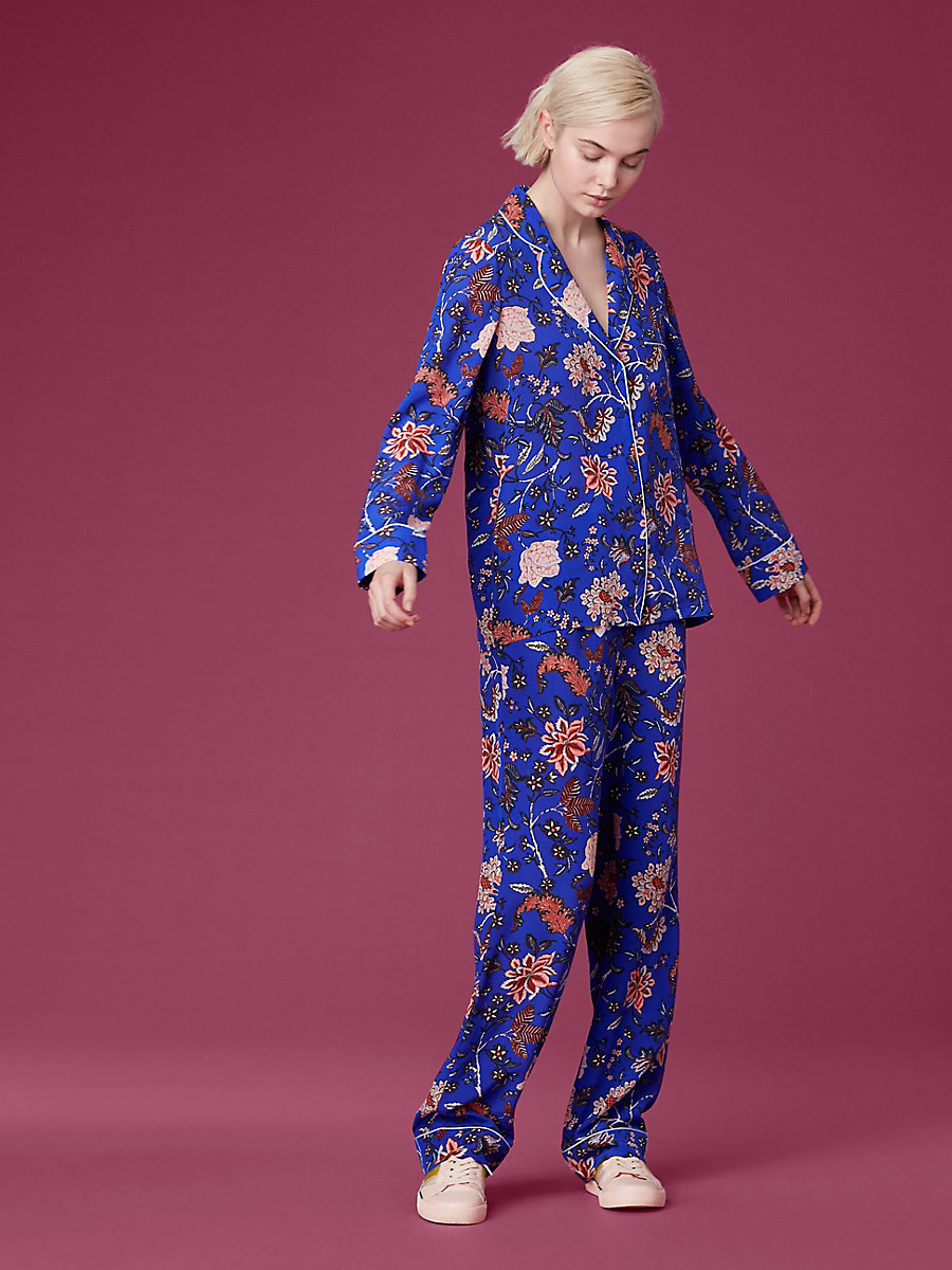 Long-Sleeve Pajama Top in Canton Electric Blue/ Duck Egg by DVF