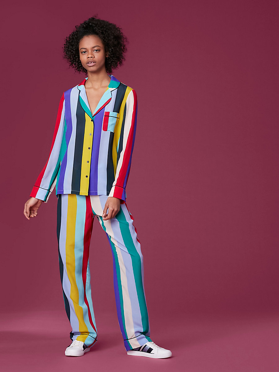Long-Sleeve Pajama Top in Carson Stripe Multi/ Black by DVF
