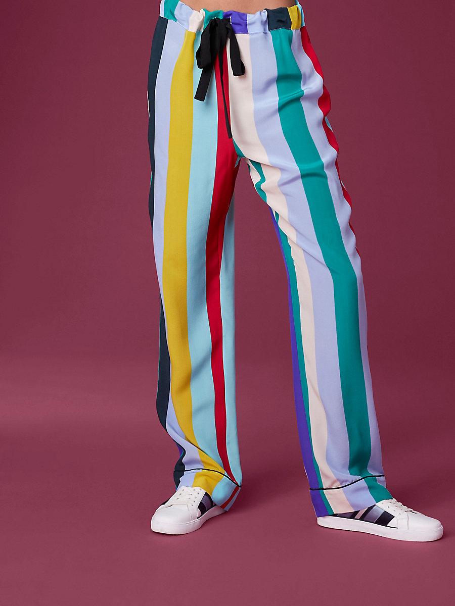 Wide Leg Pajama Pant in Carson Stripe Multi/ Black by DVF
