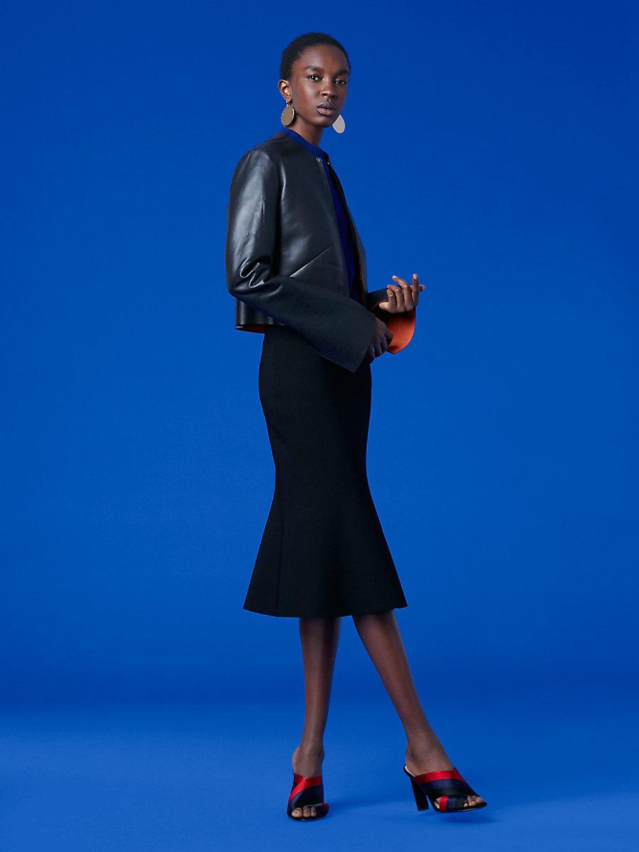 Tailored Front Zip Jacket in Black/ Jasper by DVF