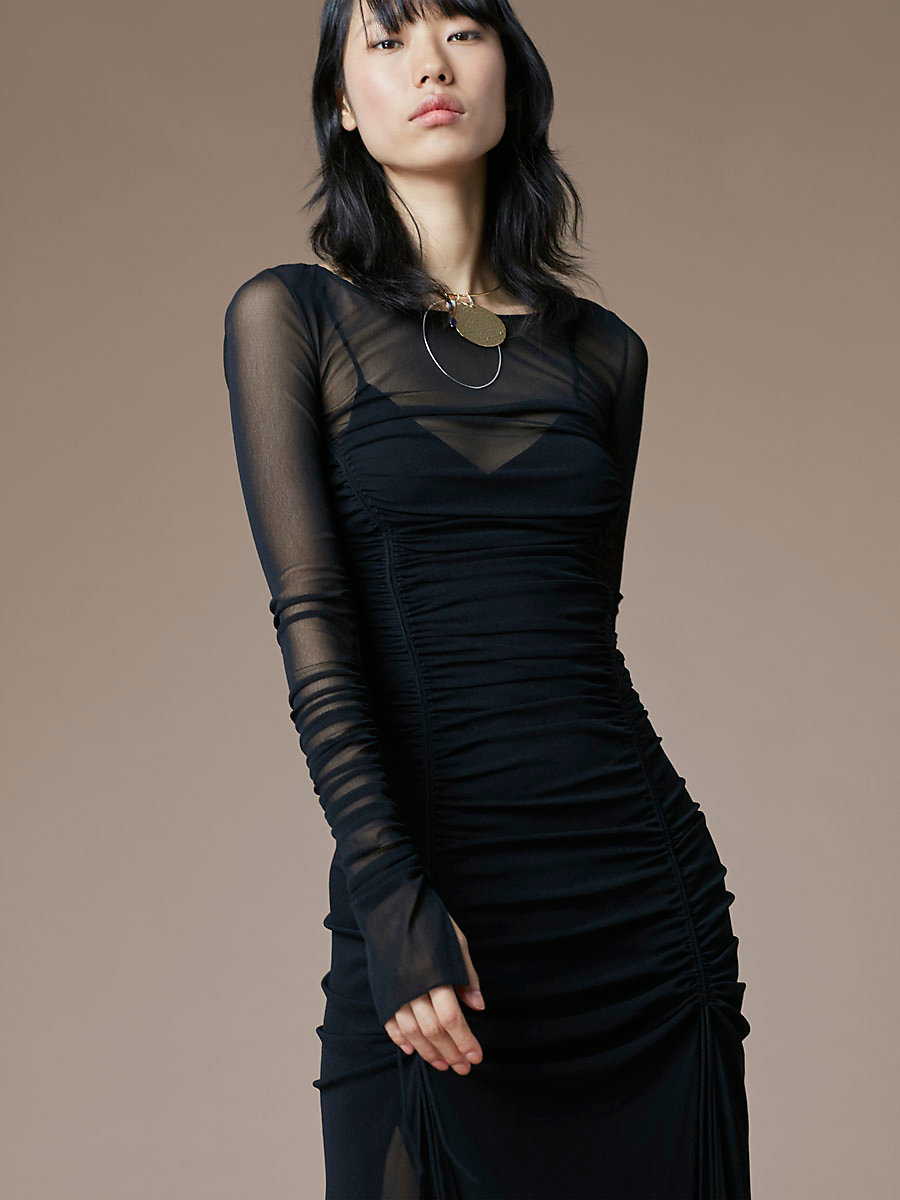Long-Sleeve Overlay Mesh Dress in Black by DVF
