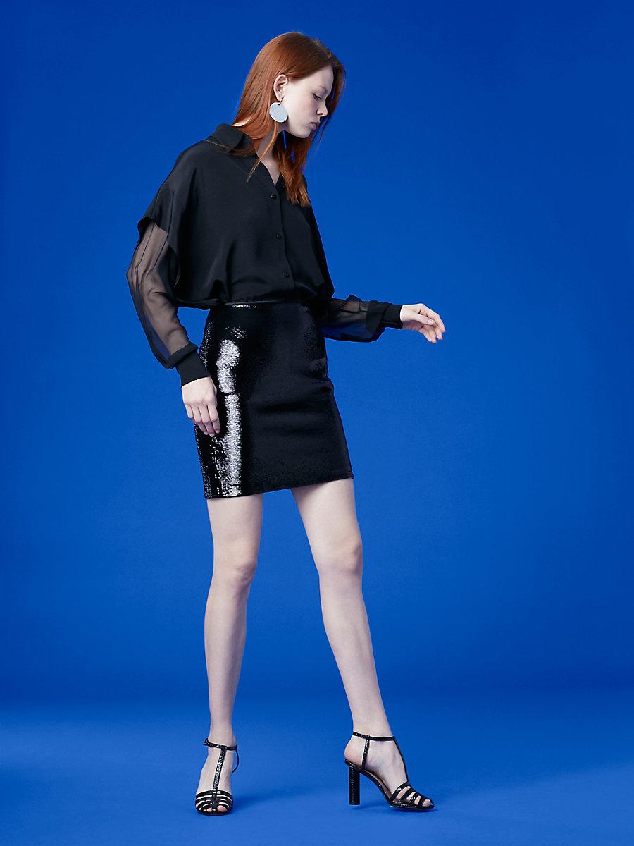 Sequin Mini Skirt in Black by DVF
