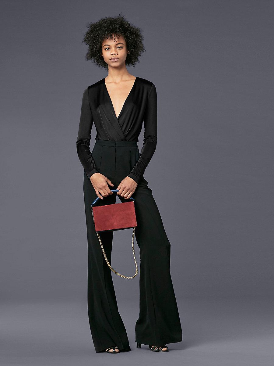 Long-Sleeve Lala Bodysuit in Black by DVF