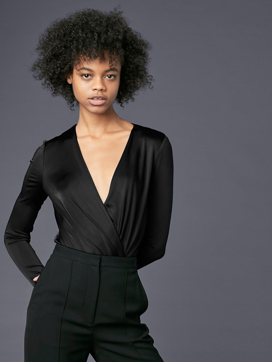 Long-Sleeve Lala Bodysuit in Black by DVF
