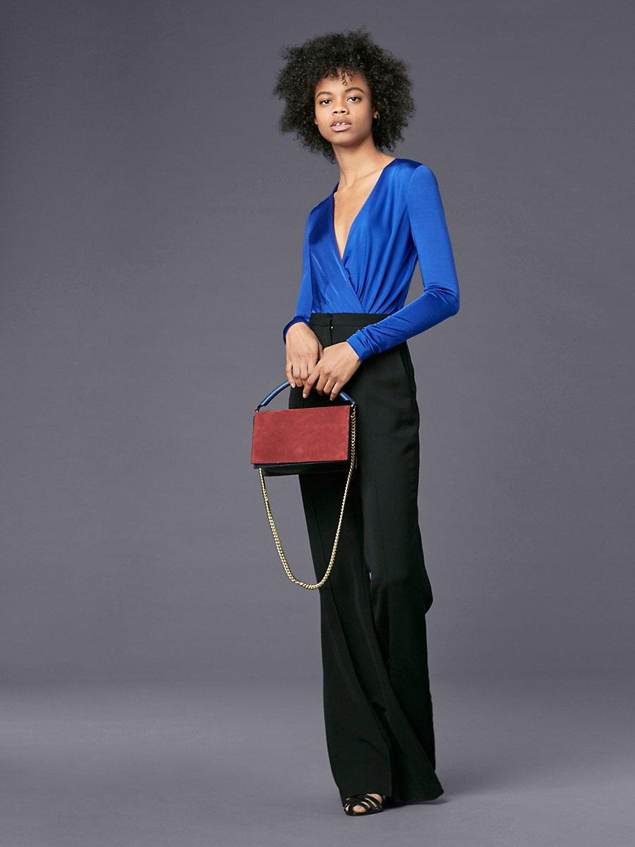 Long-Sleeve Lala Bodysuit in Electric Blue by DVF