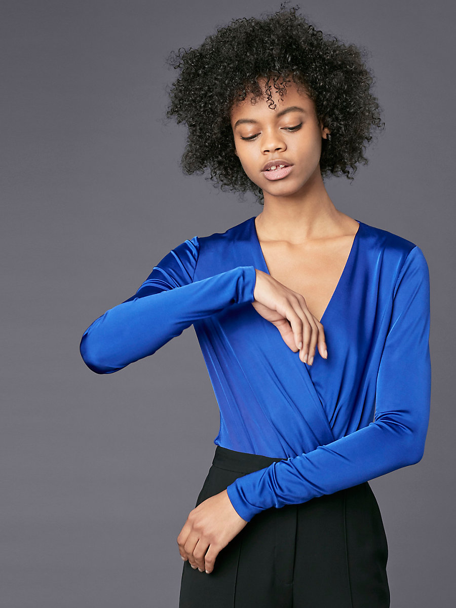 Long-Sleeve Lala Bodysuit in Electric Blue by DVF