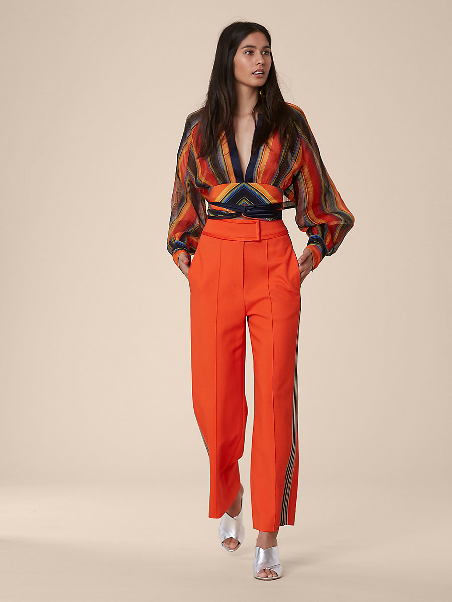 Keyhole Blouse in Sussex Stripe Tangerine/alx Nv by DVF