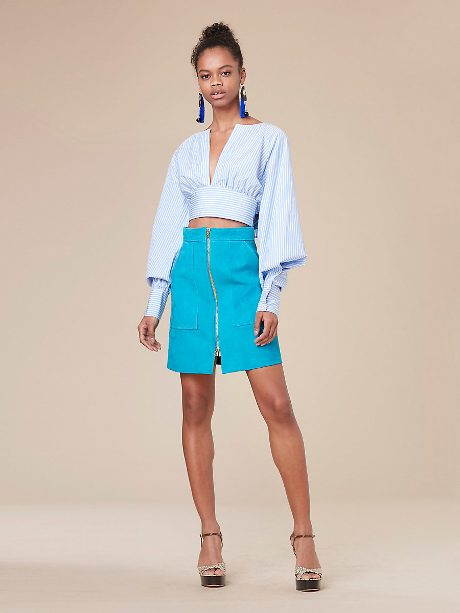 Keyhole Cropped Blouse in Pale Blue/white Wide Stripe by DVF