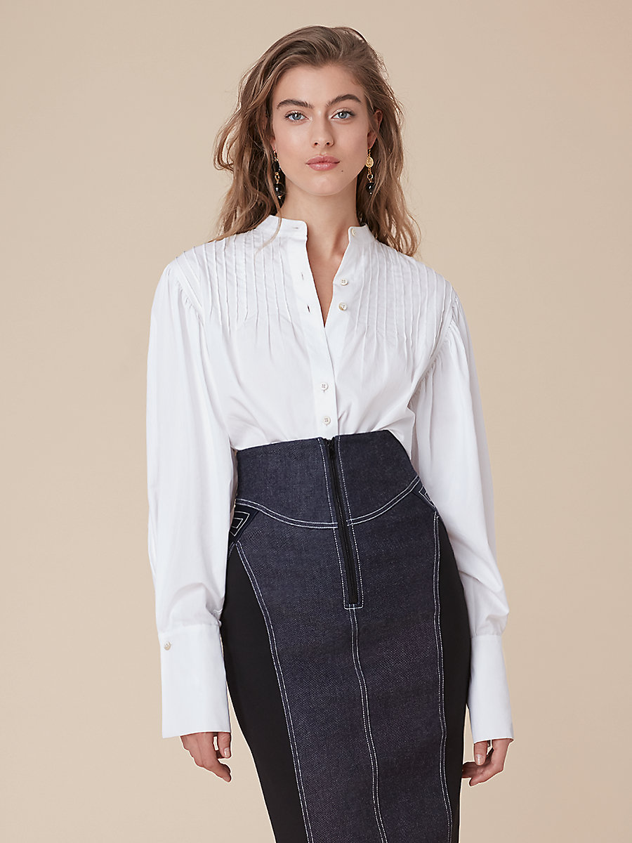 Pintuck Shirt in White by DVF