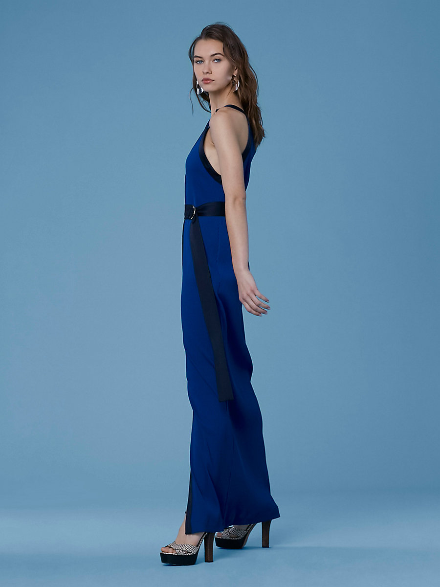 Ribbed Jersey Maxi Dress in Cove/alexander Navy by DVF