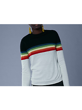 Long-Sleeve Rainbow Crew Neck Sweater by DVF