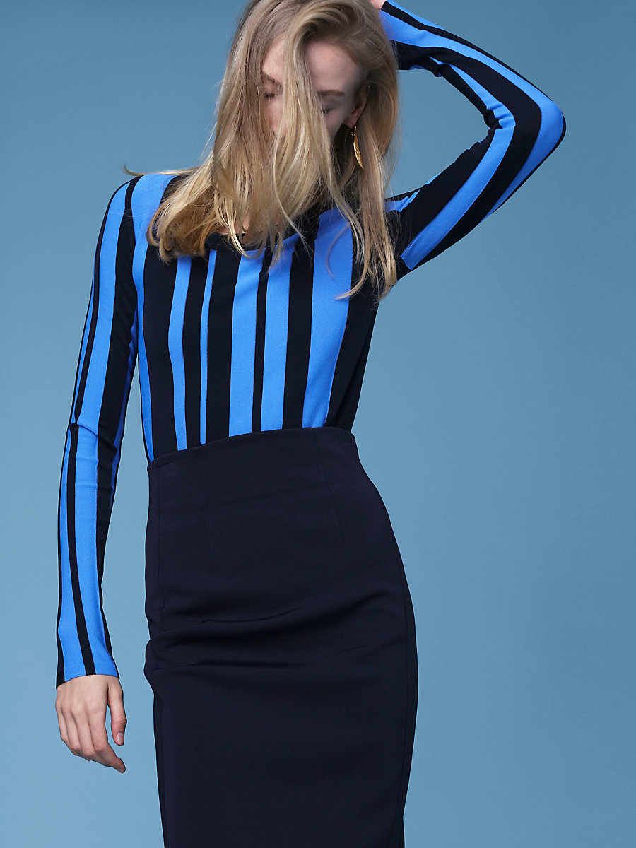 Striped Scoop Neck Pull Over in Alexander Navy/hydrangea by DVF