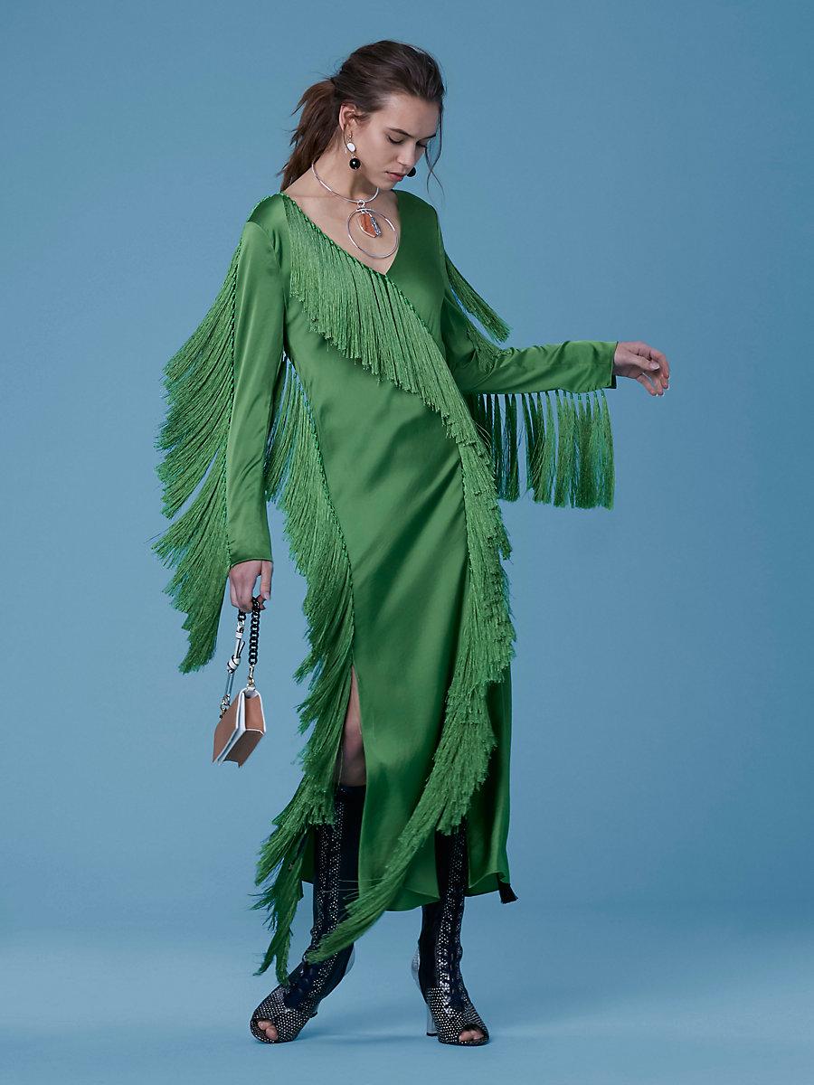 Side Slit Fringe Dress in Grass by DVF