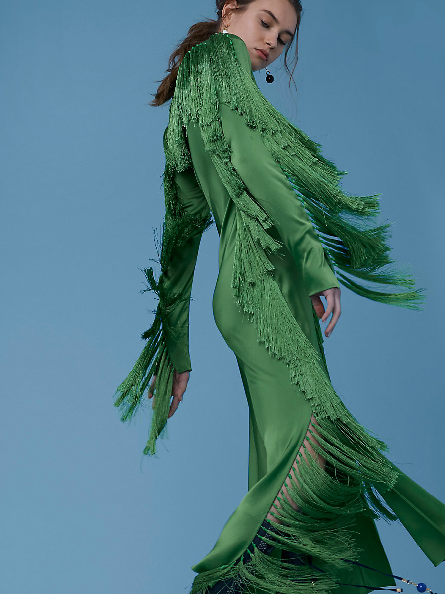 Side Slit Fringe Dress in Grass by DVF