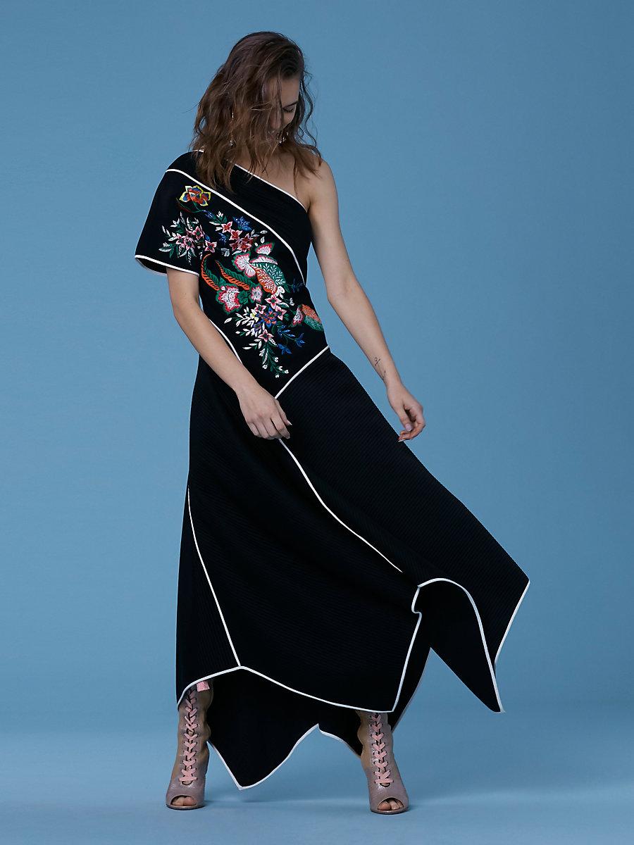 One-Shoulder Ottoman Dress in Black by DVF